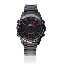 WEIDE WH1009 LED Date Multifunction Men Quartz Stainless Steel Wrist Watch