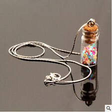 12 color sand wishing star bottle glass Popular Silver Chain Pendants  Necklaces