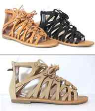 Gladiator Cut Out Sandals Strappy Lace Up New Womens Flat Open Toe Shoe & Zipper
