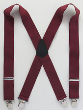 "Classic 2"" Terry Suspenders Burgundy Strong Clips Full Elastic Choose Your Size"