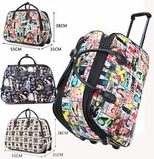 LADIES TRAVEL HOLDALL MAGAZINE TEDDY PRINT LUGGAGE HANDLE WHEELED SUITCASE