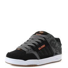 Mens Globe Tilt Black Charcoal Orange Technical Skate Shoes Trainer Shu Size