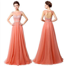 2016 New Tulle Zipper Sleeveless Long Prom Dress Party Club Cocktail Gown Coral