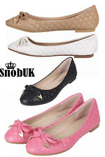 NEW WOMENS PUMPS FLAT BOW LADIES BALLET BALLERINA DOLLY BRIDAL SHOES UK 3-8