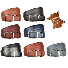 Mens New Genuine Real Leather Reversible Belts Metal Buckles One Size Adjustable
