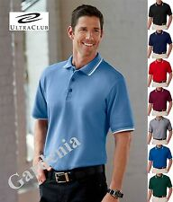 UltraClub 8545 Mens Short-Sleeve Whisper Piqué Polo with Tipped Collar and Cuffs
