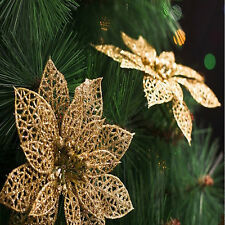 "6"" Glitter Hollow Wedding Party Decor Christmas Flowers Xmas Tree Decorations n"