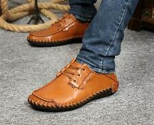 Men's Fashion Casual Shoes Leather Lace up Driving Moccasins Slip on Sneakers