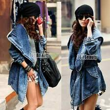 Women Hooded Denim Winter Trench Outerwear Oversized Tops Outwear Jacket Coat