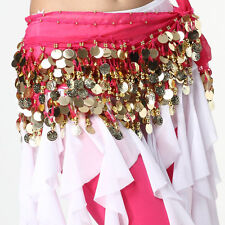 Belly Dance Wrap Belt 3-rows 128 Gold Coins Gong piece Hip Scarf Skirt Costume