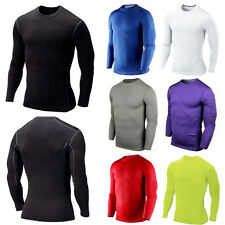 Mens Compression Armour Base Layer Top Sport Tights Thermal Long Sleeve T-Shirts