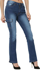 Womens Ladies Bootcut Jeans Trousers Cargo Denim Six Pocket Pants Bell Bottom