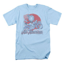 Betty Boop Men's  All American Biker T-shirt Blue Rockabilia
