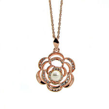 Rose-Gold Tone Flower  Pendant  Necklace, Made with SWAROVSKI® Crystals.
