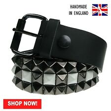 38mm Black & White Pyramid 100% Real Leather Made In England Press Stud Belt