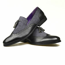 Mens Shoes Tasseled Loafers Without Laces Wedding Dress Party Black Formal size