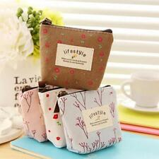 Canvas Floral Coin Purse Girls Wallet Card Money Key Headset Holder Pouch Bags