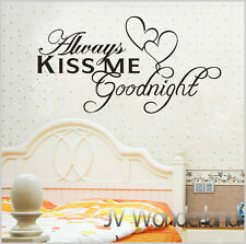 "Vinyl Decal ""Alway Kiss Me Goodnight"" Transfer Sheet Wall Sticker Decor Quote AU"
