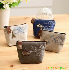 Women Girl Kid Retro Small Coin Bag Canvas Zipper Holder Wallet Purse Case Pouch