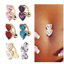 Nail Navel Zircon Body Jewelry Reverse Belly Ring Crystal Bar  Double Love