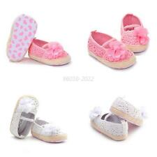 Princess Baby Girls Knitted Flower Shoes Cotton Slip-On Crib First Walkers Shoes