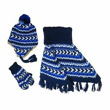 Igloo Fairisle Cowl Poncho, Hat & Mittens Set - Girls 4-16 ~ 2 Colors~Free Ship