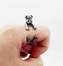 Cute Pit Bull Terrier Ring Pet Antique Vintage Animal Gift Wrap Adjustable Ring