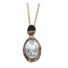 Rose-Plated Crystal  Oval Pave  Pendant Necklace  made with SWAROVSKI® Crystals