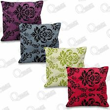 "FLOCK DAMASK CUSHION LUXURY CUSHION COVERS CASES SOFA PILLOWS DECORATION 18""X18"""