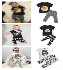 Infant Baby Boys Clothes Short Sleeve Cartoon Tops Pants Summer Outfits Set 0-3Y