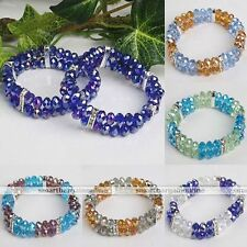 1pc Crystal Glass Faceted Abacus Bead Bracelet Bangle Women Girl Fashion Gift