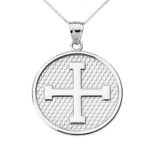 14k White Gold Greek Cross Round Disc Pendant Necklace