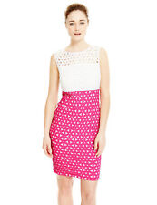 M&S Marks Spencers Pink Ivory White Cut Out Colour Block Dress 12 14 16 18 20 22