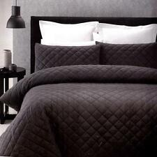 DIAMOND Charcoal Grey Quilted Effect SINGLE*DOUBLE Quilt Doona Duvet Cover Set