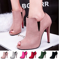 women's ladies high heels peep toes Stiletto pumps shoes Size 4-8 slip-on party