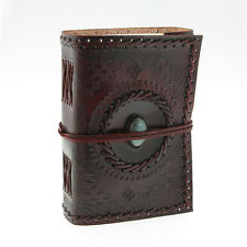 Indra Fair Trade Medium Embossed Stitched Stoned Leather Journal 2nd Quality
