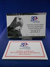 2007 United States Mint State Quarters Silver Proof Set **5 Coins** w/COA & Box
