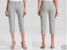 NWT Eileen Fisher Organic Linen Silver Grey Cropped Cargo Pants