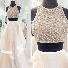 Special Two Pieces Long Beads Evening Dress Ball Gown Organza Party Prom Dress