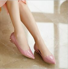 Womens Fashion Pointed Toe Ballet Flats Heel Faux Patent Leather Slip On Shoes