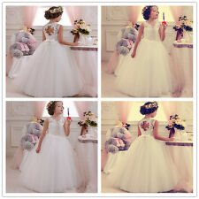 Snow white Wedding Formal Flower Girls Dress Pageant fluffy dress Ivory new G
