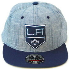 NHL Los Angeles Kings Shield Mitchell & Ness Slub Linen Fitted Hat-Heather Blue