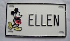 "VINTAGE WALT DISNEY MICKEY MOUSE VANITY NAME LICENSE PLATE BIKE BICYCLE ""ELLEN"""