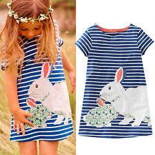 New Cute Kids Baby Girls Summer Casual Short Sleeve Cartoon Rabbit Striped Dress