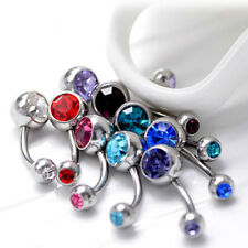 10pcs Double Gemmed CZ Belly Button Navel Ring Body Piercing FREE Retainer CAC
