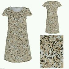 Boden Cream Beige Floral Linen A Line Shift Tea Dress Size 8 10 12 14 16 18