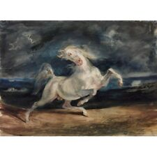 Eugene Delacroix Horse Frightened By Lightning Classic Art Vintage-Style Poster