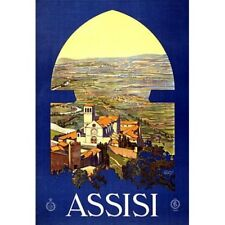 Assisi Italy Travel Advertisement Vintage-Style Poster