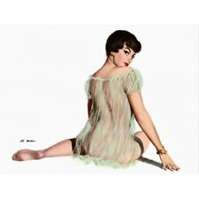 Pin Up Girl Vintage-Style Poster Short Hair Brunette With See Through Dress