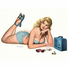 Pin Up Girl Vintage-Style Poster Blonde Striped Bathing Suit Listening to Radio